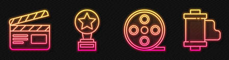 Set line Film reel, Movie clapper, Movie trophy and Camera vintage film roll cartridge. Glowing neon icon. Vector