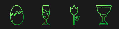 Set line Flower tulip, Broken egg, Wine glass and Christian chalice. Gradient color icons. Vector