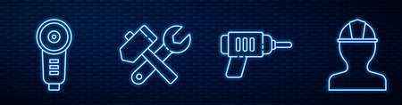 Set line Electric drill machine, Angle grinder, Hammer and wrench spanner and Worker safety helmet. Glowing neon icon on brick wall. Vector