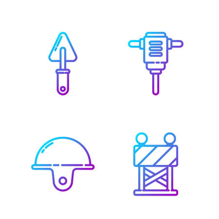 Set line Road barrier, Worker safety helmet, Trowel and Electric rotary hammer drill. Gradient color icons. Vector