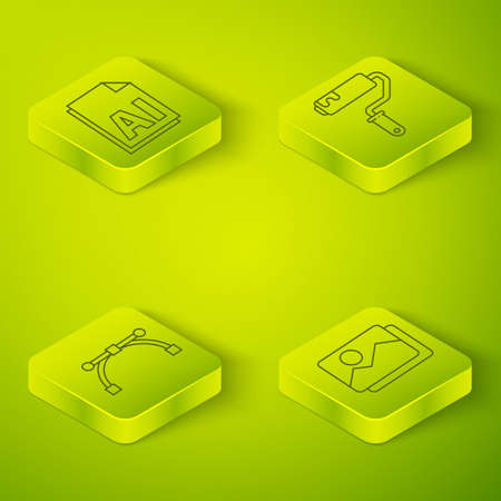 Set Isometric Paint roller brush, Bezier curve, Picture landscape and AI file document icon. Vector