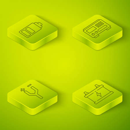 Set Isometric Electrical measuring instruments, Electric cable, Car battery and Battery charge level indicator icon. Vector