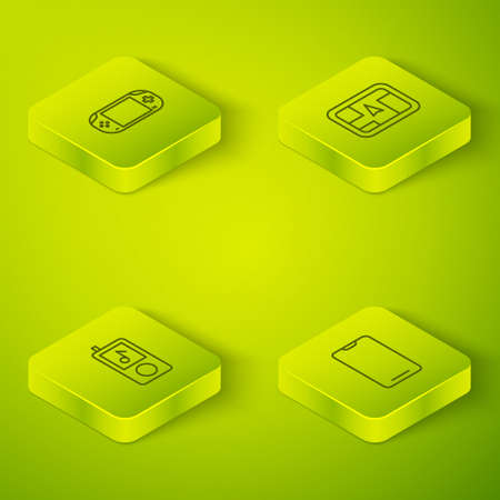 Set Isometric Gps device with map, Music player, Smartphone, mobile phone and Portable video game console icon. Vector