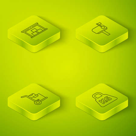 Set Isometric Mail box, Hand truck and boxes, Weight and Warehouse icon. Vector