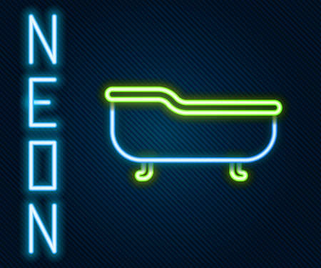 Glowing neon line Bathtub icon isolated on black background. Colorful outline concept. Vector Illustration