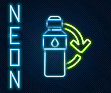 Glowing neon line Recycling plastic bottle icon isolated on black background. Colorful outline concept. Vector Illustration