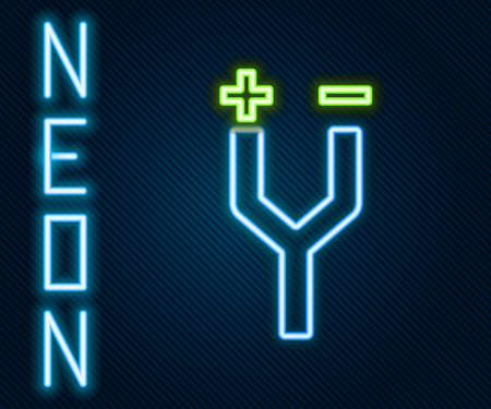 Glowing neon line Electric cable icon isolated on black background. Colorful outline concept. Vector Illustration