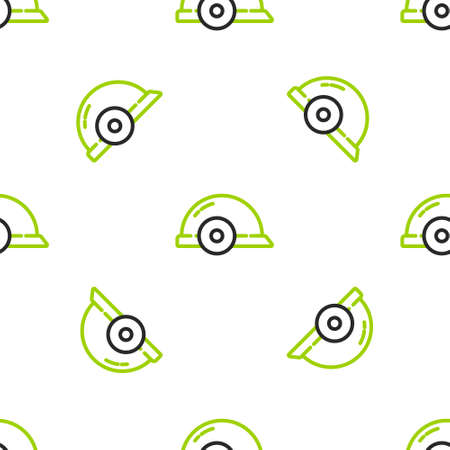 Line Worker safety helmet icon isolated seamless pattern on white background. Vector Illustration