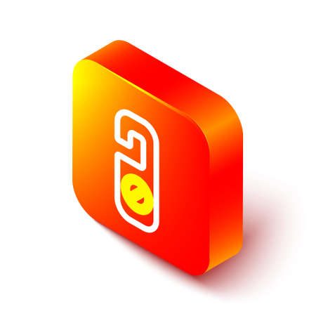 Isometric line Please do not disturb icon isolated on white background. Hotel Door Hanger Tags. Orange square button. Vector Illustration Ilustração