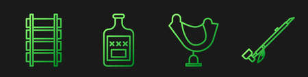 Set line Wild west saddle, Railway, railroad track, Whiskey bottle and Native American indian smoking pipe. Gradient color icons. Vector Illusztráció