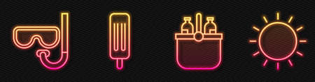 Set line Cooler bag and water, Diving mask and snorkel, Ice cream and Sun. Glowing neon icon. Vector