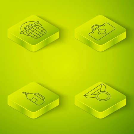 Set Isometric First aid kit, Fitness shaker, Medal and Hockey helmet icon. Vector