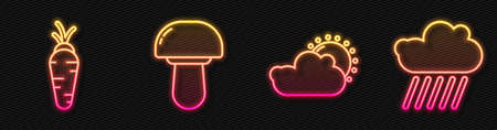 Set line Sun and cloud weather, Carrot, Mushroom and Cloud with rain. Glowing neon icon. Vector