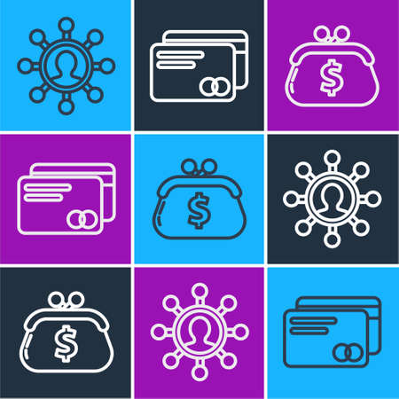 Set line Business network and communication, Wallet with dollar and Credit card icon. Vector Illustration