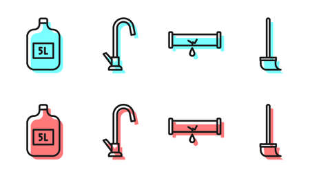 Set line Broken pipe with leaking water, Big bottle with clean water, Water tap and Mop icon. Vector