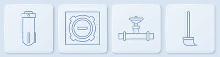 Set line Water filter, Industry pipe and valve, Manhole sewer cover and Mop. White square button. Vector