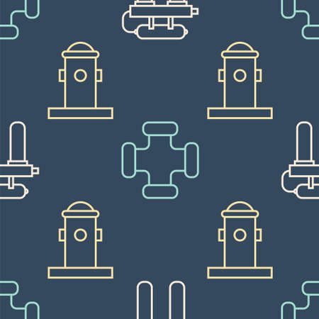 Set line Water filter, Fire hydrant and Industry metallic pipe on seamless pattern. Vector