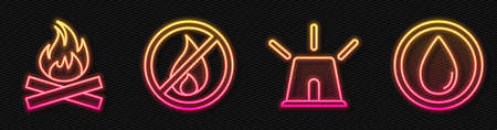 Set line Flasher siren, Campfire, No fire and Water drop. Glowing neon icon. Vector
