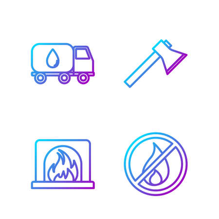 Set line No fire, Interior fireplace, Water delivery truck and Firefighter axe. Gradient color icons. Vector