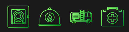 Set line Fire truck, Fire hose cabinet, Firefighter helmet and First aid kit. Gradient color icons. Vector Ilustracja