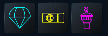 Set line Parachute, Radar and Airline ticket. Black square button. Vector