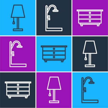 Set line Table lamp, Chest of drawers and Shower icon. Vector