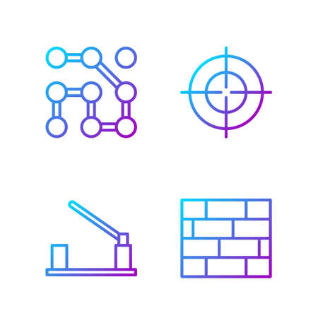 Set line Bricks, Parking car barrier, Graphic password protection and Target sport. Gradient color icons. Vector