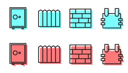 Set line Bricks, Safe, Garden fence wooden and Bulletproof vest icon. Vector