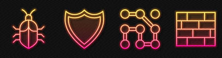 Set line Graphic password protection, System bug concept, Shield and Bricks. Glowing neon icon. Vector
