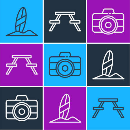 Set line Surfboard, Photo camera and Picnic table with benches icon. Vector Ilustracja