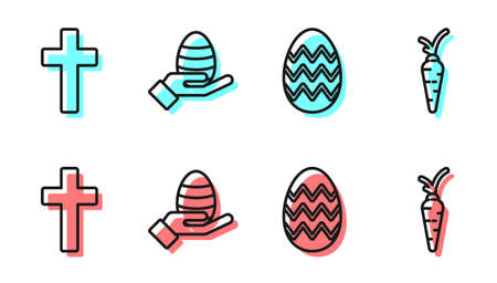 Set line Easter egg, Christian cross, Human hand and easter egg and Carrot icon. Vector