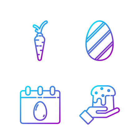 Set line Human hand and easter cake, Calendar with Easter egg, Carrot and Easter egg. Gradient color icons. Vector