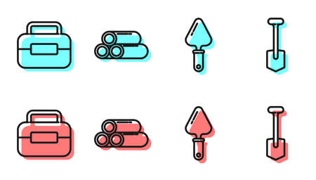 Set line Trowel, Toolbox, Industry metallic pipe and Shovel icon. Vector