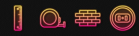 Set line Bricks, Ruler, Roulette construction and Electrical outlet. Glowing neon icon. Vector