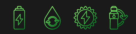 Set line Solar energy panel, Battery, Recycle clean aqua and Recycling plastic bottle. Gradient color icons. Vector
