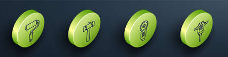Set Isometric Paint roller brush, Hammer, Angle grinder and Electric rotary hammer drill icon. Vector 矢量图像