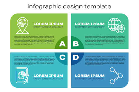 Set line Location and mail and e-mail, Share and Earth globe with mail. Business infographic template. Vector