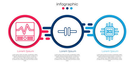 Set line Electrical measuring instruments, Electric circuit scheme and Processor with microcircuits CPU. Business infographic template. Vector Illustration