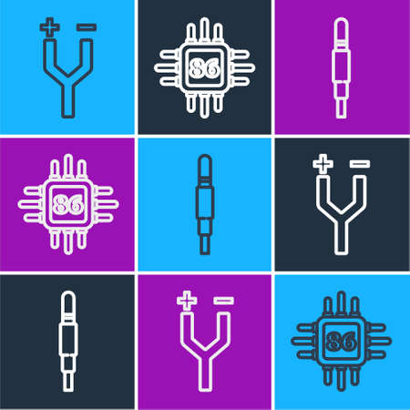 Set line Electric cable, Audio jack and Processor with microcircuits CPU icon. Vector Illustration