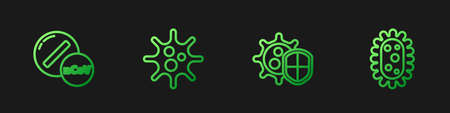 Set line Shield protecting from virus, Medicine pill or tablet, Virus and . Gradient color icons. Vector Ilustração