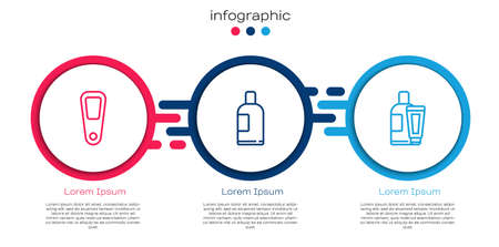 Set line Hand mirror, Bottle of shampoo and Cream lotion cosmetic tube. Business infographic template. Vector Ilustração