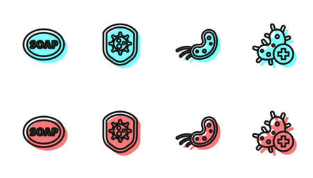 Set line Virus, Bar of soap, Shield protecting from virus and Positive icon. Vector Ilustração