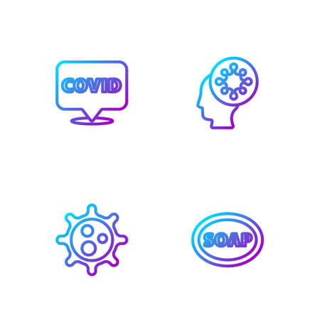 Set line Bar of soap, Virus, Corona virus covid-19 on location and Human and. Gradient color icons. Vector
