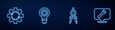 Set line Drawing compass, Gear and arrows workflow, Light bulb gear and Location with wrench spanner. Glowing neon icon on brick wall. Vector Ilustração