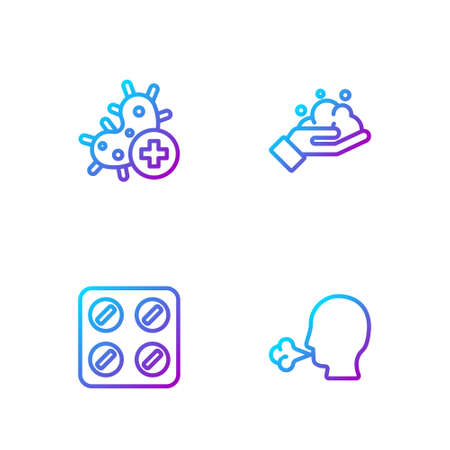 Set line Man coughing, Pills blister pack, Positive virus and Washing hands with soap. Gradient color icons. Vector Ilustração
