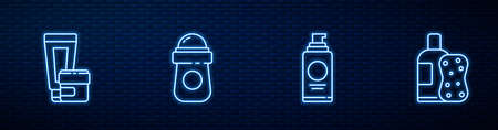 Set line Spray can for hairspray, Cream lotion cosmetic tube, Antiperspirant deodorant roll and Bottle of shampoo and sponge. Glowing neon icon on brick wall. Vector