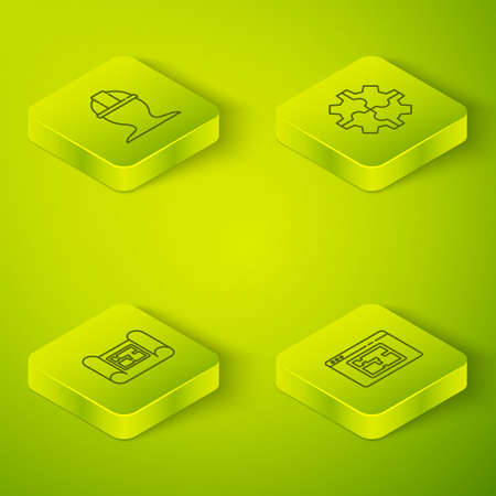 Set Isometric Gear, House plan, and Worker safety helmet icon. Vector