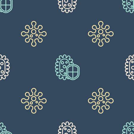 Set line Virus, and Shield protecting from virus on seamless pattern. Vector Ilustração