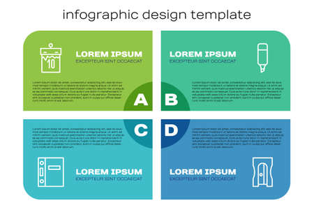 Set line Office folders, Calendar, Pencil sharpener and Marker. Business infographic template. Vector
