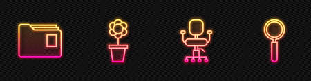 Set line Office chair, Document folder, Flower in pot and Magnifying glass. Glowing neon icon. Vector